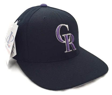 Colorado Rockies Snapback Vintage Logo 7 Cap Hat Wool Black