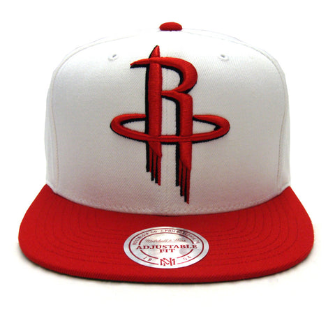 Houston Rockets Snapback Mitchell & Ness XL Logo Cap Hat White Red