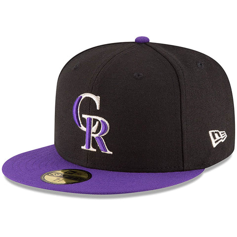 Colorado Rockies Fitted New Era 59Fifty On Field Black Purple Cap Hat