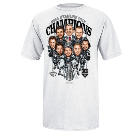 Los Angeles Kings Mens 2014 Reebok Stanley Cup Champions Caricature T-Shirt White