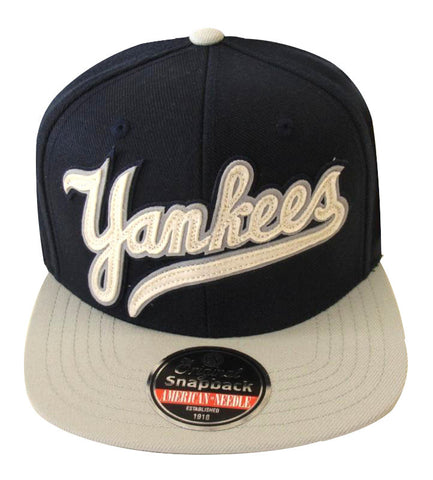 New York Yankees Snapback American Needle Flynn Cap Hat Navy Grey