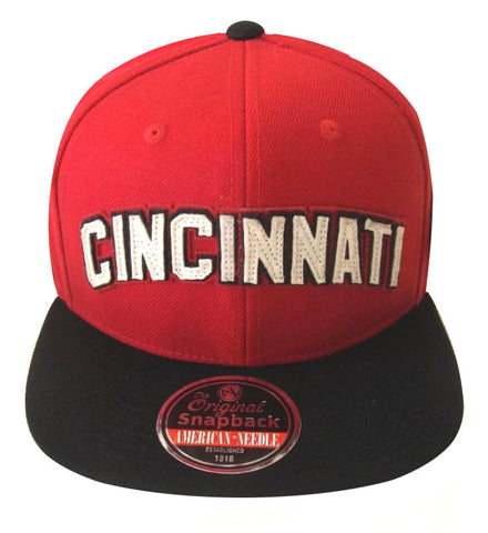Cincinnati Reds American Needle Flynn Snapback Cap Hat Red Black