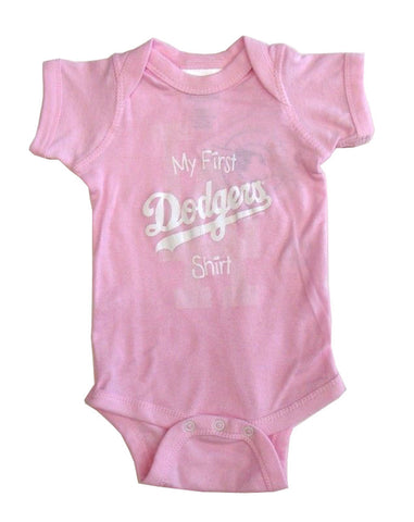 Los Angeles Dodgers Newborn Infant (NB-18 Months) My First Shirt Pink Creeper