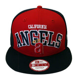 Anaheim Angels New Era Arch Logo Word Snapback Cap Hat Red Navy