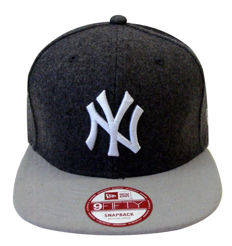 New York Yankees Snapback New Era Melt Redux Cap Hat Wool Charcoal Grey