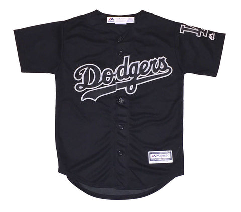 Los Angeles Dodgers Kids (4-7) Jersey Majestic Replica Cool Base Custom Black