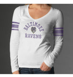 Baltimore Ravens Womens White '47 Brand Home Run V-Neck Long Sleeve T-Shirt