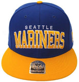 Seattle Mariners Snapback Retro 47 Block Cap Hat Blue Yellow