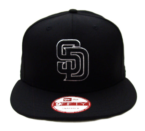 San Diego Padres New Era Black Logo White Outline Snapback Cap Hat Black