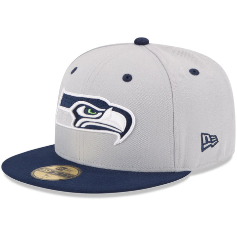 Seattle Seahawks Fitted New Era 59Fifty League Basic Cap Hat Grey Navy