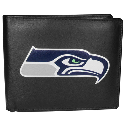 Seattle Seahawks Mens Embroidered Leather Bi-fold Wallet