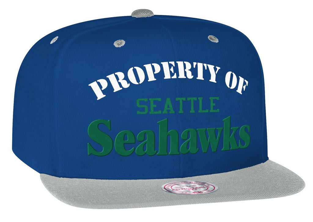 e7cb9ad89 Seattle Seahawks Snapback Mitchell   Ness Property Of Cap Hat Blue Grey