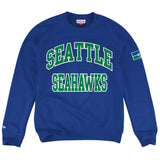 Seattle Seahawks Mens Mitchell & Ness Start of Season Crew Neck Sweatshirt Blue