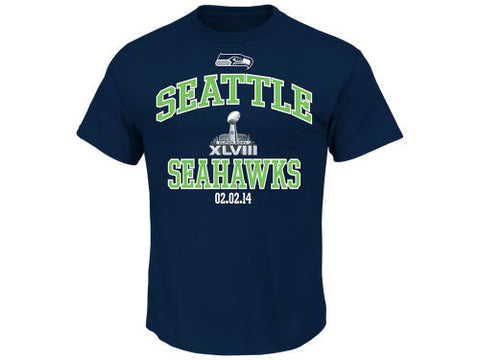 Seattle Seahawks Mens Heart and Soul Super Bowl XLVIII T-Shirt Navy