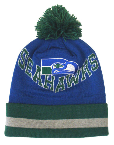 Seattle Seahawks Beanie Mitchell & Ness V Question Cuffed Pom Knit Blue Green