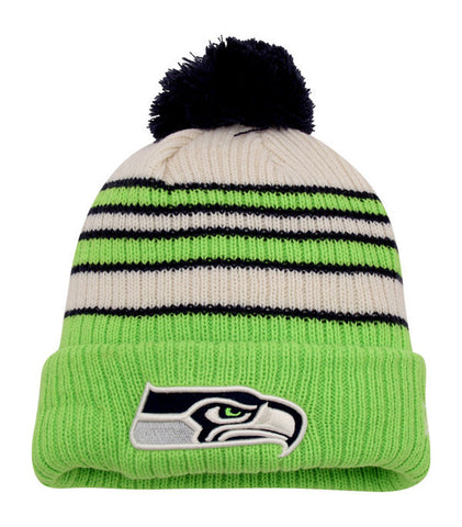 Seattle Seahawks Beanie New Era Traditional Stripe Knit Pom
