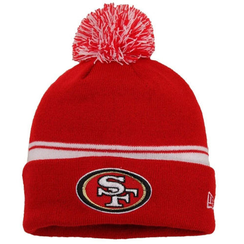 San Francisco 49ers Beanie New Era Cuff Flip Embroidered Pom Red