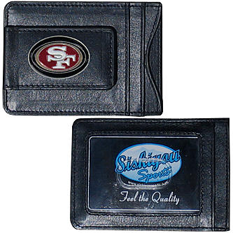 San Francisco 49ers Magnetic Leather Money Clip Wallet Card Holder