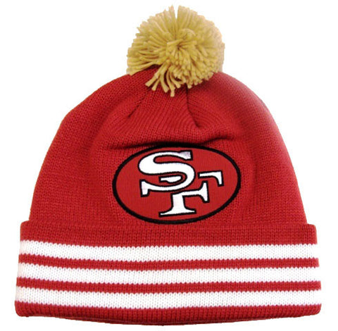 8a53ba2bcbc22 San Francisco 49ers Beanie Mitchell   Ness Pom Top Cuff Knit Hat Cap Red
