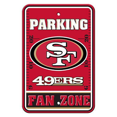 "San Francisco 49ers Plastic 12""x18"" Team Fan Zone Parking Sign"