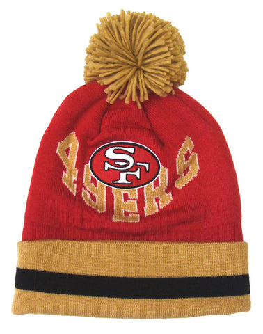 3e8ad68e2 San Francisco 49ers Beanie Mitchell & Ness V Question Cuffed Pom Knit Red  Gold