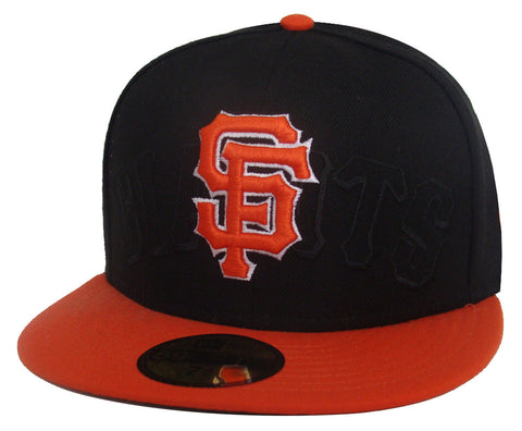 e6a96a12863 San Francisco Giants Fitted New Era 59FIFTY Over Logo Black Orange Cap Hat