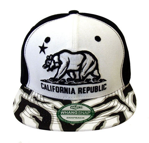 California Republic Snapback Whang Tri Bear Retro Cap Hat Black Zebra