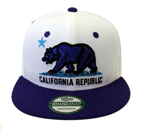 California Republic Snapback Whang Purple Bear RetroCap Hat White Purple