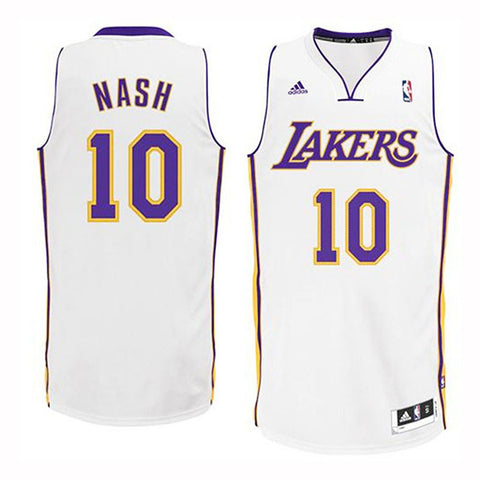 77debddcb28 Los Angeles Lakers Mens Jersey Adidas  10 Steve Nash Swingman White