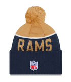St. Louis Rams Beanie New Era 2015 On Field Sport Knit Pom Gold Navy