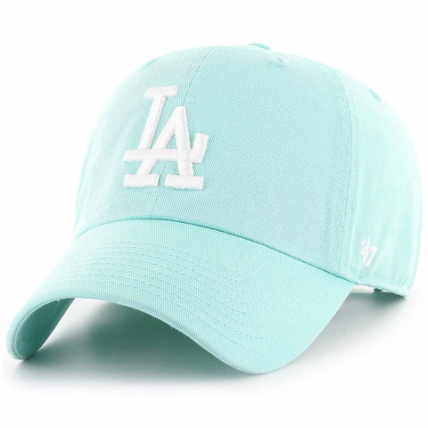 Los Angeles Dodgers Strapback '47 Brand Clean Up Adjustable Cap Hat Tiffany Blue white logo