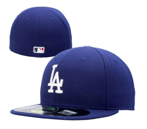 Los Angeles Dodgers Kids Fitted New Era 59Fifty Official On Field Cap Hat Blue
