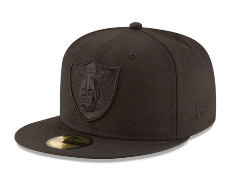 Oakland Raiders Fitted New Era 59Fifty Black on Black Cap Hat
