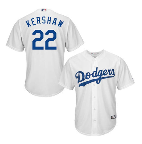 Los Angeles Dodgers Mens Jersey #22 Clayton Kershaw Majestic Cool Base White