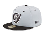 Oakland Raiders Fitted New Era 59Fifty Logo Cap Hat Grey Black