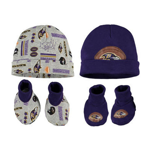 Baltimore Ravens Baby Infant 0-6 month 4 Piece Set 2 Beanie Caps & 2 Booties