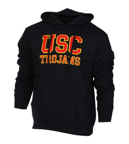 USC Trojans Mens Sweatshirt Pullover Yard Line Hooded Black