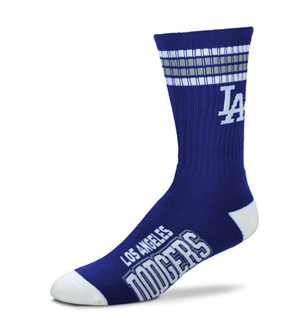 Los Angeles Dodgers Mens Socks (Large) 4-Stripe Deuce Blue White