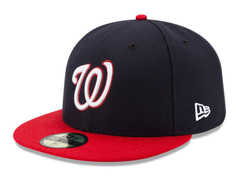 Washington Nationals Fitted New Era On Field Cap Hat Navy Red Size 7 5/8
