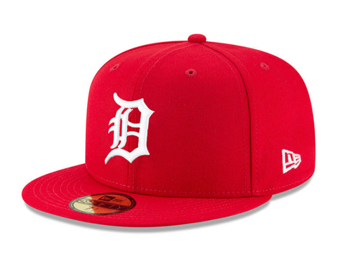 Detroit Tigers Fitted New Era 59Fifty White Logo Red Hat Grey Bottom