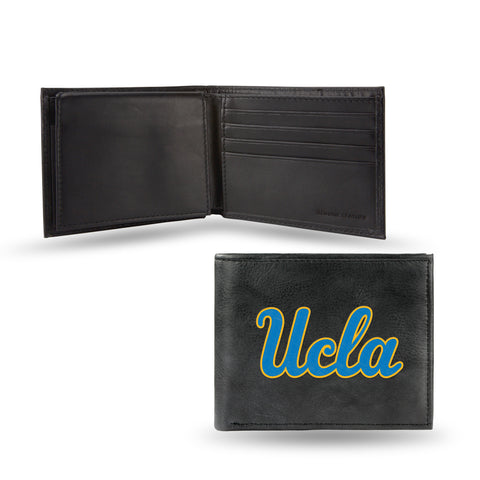 UCLA Mens Embroidered Leather Bi-fold Wallet