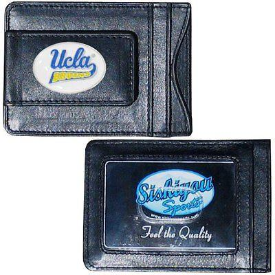 UCLA Bruins Magnetic Leather Money Clip Wallet Card Holder