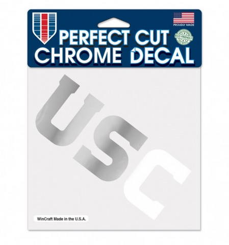 "USC Trojans Chrome Prefect Cut Decal 6"" X 6"""