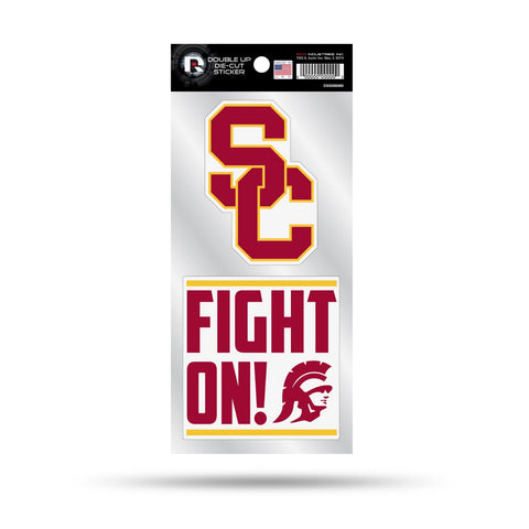 USC Trojans Double Up Die Cut Sticker 2pc