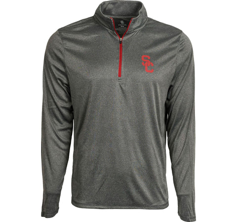 USC Trojans Mens T-Shirt USC River Long Sleeve Quarter-Zip Charcoal