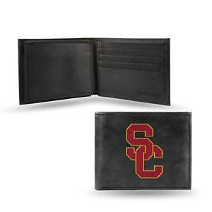 USC Trojans Mens Embroidered Leather Bi-fold Wallet