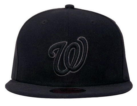 wholesale dealer a787f 7605e Washington Nationals Fitted New Era 59Fifty Charcoal Outline All Black Cap  Hat