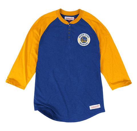 Golden State Warriors Mens Mitchell & Ness Unbeaten Henley T-Shirt Blue Yellow