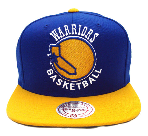 Golden State Warriors Snapback Mitchell & Ness XL Logo Cap Hat Blue Yellow