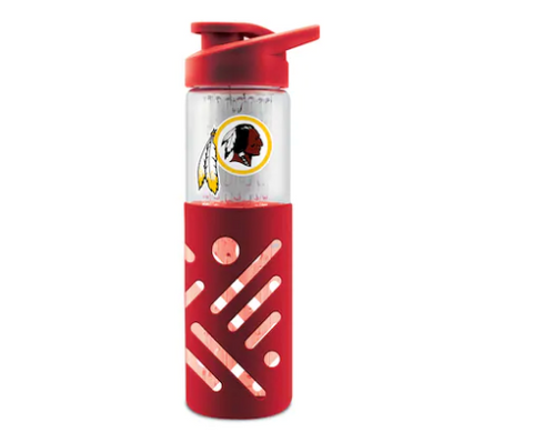 Washington Redskins Glass Water Bottle with Silicone Sleeve